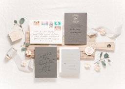 11 very charming neutral wedding invitations