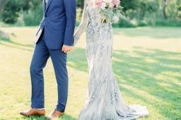Stunning Custom Silver Dress & Pink Peach Outdoor Wedding