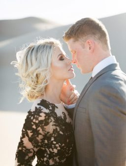 Romantic Elopement in Arizona Sand Dunes with a Black Lace Dress