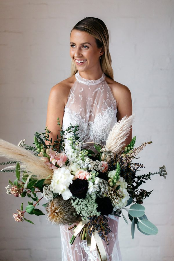 wild bouquet with pampas plumes