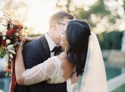 Elegant Outdoor Burgundy Wedding with a Clear-top Tented Reception